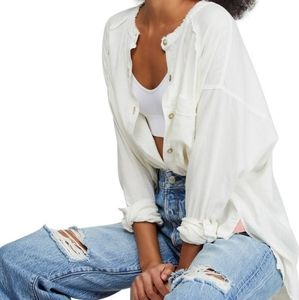 Free People Keep it Simple button down White Xs